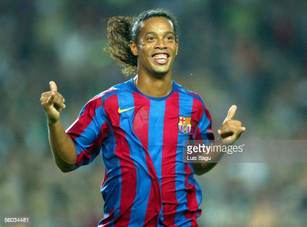 Ronaldinho of FC Barcelona celebrates his goal during the La Liga match between FC Barcelona and Real Sociedad, on October 30, 2005 at the Camp Nou...