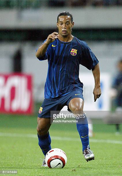 Ronaldinho of FC Barcelona in action during a friendly match against Japan's Jubilo Iwata at Shizuoka Stadium on August 4 2004 in Shizuoka Japan