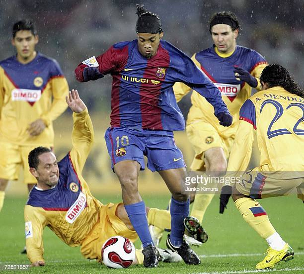 Ronaldinho of FC Barcelona in action during the FIFA Club World Cup Japan 2006 Semifinals between FC Barcelona v Club America at the International...