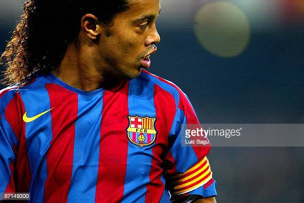 Ronaldinho of FC Barcelona in action during the La Liga match between FC Barcelona and Getafe on March 21 2006 at Camp Nou stadium in Barcelona Spain