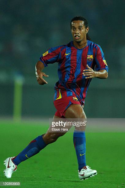 Ronaldinho of FC Barcelona in action during the MLJ Special Match 2005 between Yokohama F Marinos and FC Barcelona at Nissan Stadium on July 30 2005...