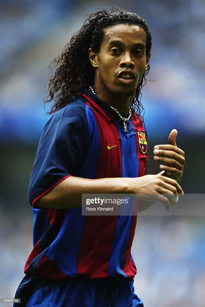 Ronaldinho of FC Barcelona in action during the Pre-Season Friendly match between Manchester City and FC Barcelona held on August 10, 2003 at The City of Manchester Stadium, in Manchester, England. Manchester City won the match 2-1.