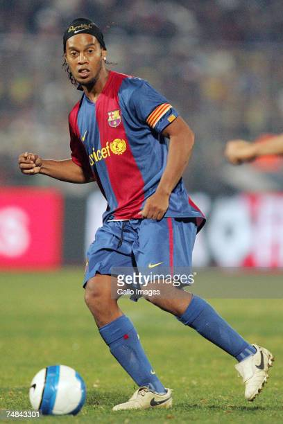 Ronaldinho of FC Barcelona in action during the PSL soccer match between the Sundowns and FC Barcelona at Loftus Versfeld stadium on June 20 2007 in...
