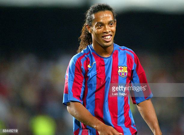 Ronaldinho of FC Barcelona is seen during the match between FC Barcelona and Real Betis of the Spain Supercup Final on August 20 2005 at Camp Nou...