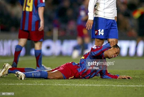 Ronaldinho of FC Barcelona looks dejected during the match between FC Barcelona and Real Zaragoza of Spain Cup on February 1 2006 at the Camp Nou...