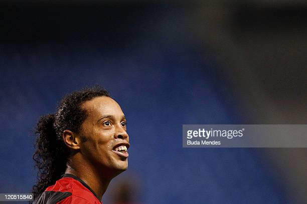 Ronaldinho of Flamengo celebrates a scored goal againist Coritiba during a match as part of Serie A 2011 at Engenhao stadium on August 06 2011 in Rio...