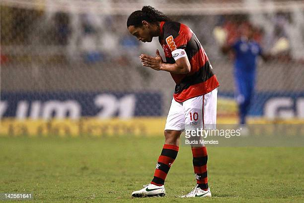 Ronaldinho of Flamengo celebrates a scored goal aganist Vasco during a match between Flamengo and Vasco as part of Rio State Championship 2012 at...