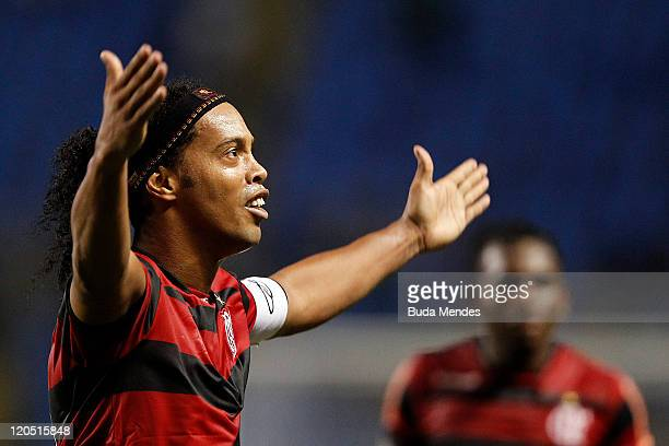 Ronaldinho of Flamengo celebrates a victory againist Coritiba during a match as part of Serie A 2011 at Engenhao stadium on August 06, 2011 in Rio de...