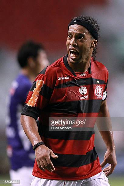 Ronaldinho of Flamengo during a match between Flamengo and Real Potosi as part of Santander Libertadores Cup 2012 at Engenhao stadium on February 01...