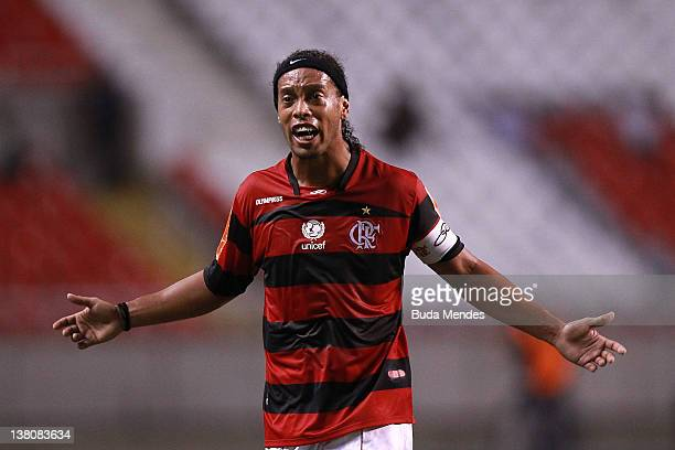 Ronaldinho of Flamengo during a match between Flamengo v Real Potosi as part of Santander Libertadores Cup 2012 at Engenhao stadium on February 01...