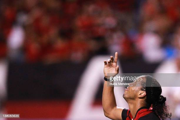 Ronaldinho of Flamengo reacts during a match between Flamengo v Real Potosi as part of Santander Libertadores Cup 2012 at Engenhao stadium on...
