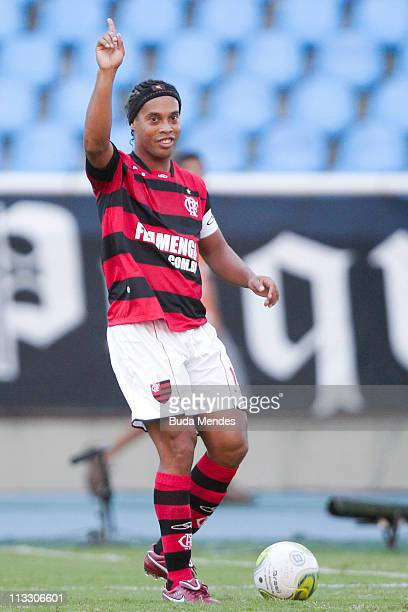 Ronaldinho of Flamengo struggles for the ball during a match as part of Rio de Janeiro State Championship 2011 at Engenhao stadium on May 01 2011 in...