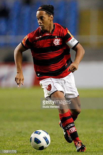 Ronaldinho of Flamengo struggles for the ball during a match as part of Serie A 2011 at Engenhao stadium on August 06 2011 in Rio de Janeiro Brazil