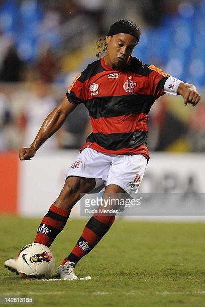 Ronaldinho of Flamengo struggles for the ball during a match between Flamengo and Lanus as part of the Copa Libertadores 2012 at Joao Havelange...