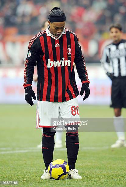Ronaldinho of Milan before the penalty during the Serie A match between Milan and Siena at Stadio Giuseppe Meazza on January 17 2010 in Milan Italy