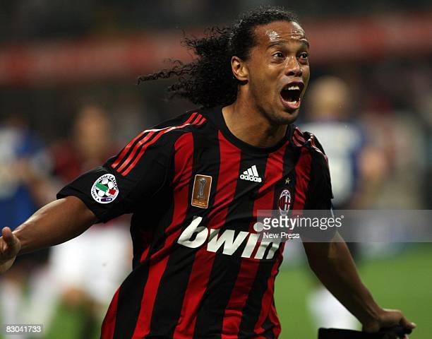 Ronaldinho of Milan in action during the Serie A match between AC Milan and Inter Milan at the Stadio Giuseppe Meazza on September 28 2008 in Milan...