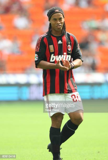 Ronaldinho of Milan in action during the Serie A match between Milan and Bologna at the Stadio Meazza on August 31 2008 in Milan Italy
