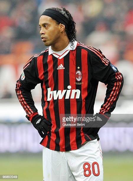 Ronaldinho of Milan in action during the Serie A match between Milan and Siena at Stadio Giuseppe Meazza on January 17 2010 in Milan Italy