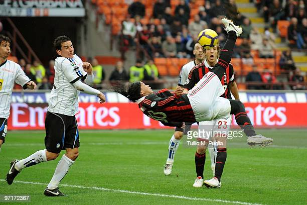 Ronaldinho of Milan kicks the ball during the Serie A match between Milan and Atalanta at Stadio Giuseppe Meazza on February 28 2010 in Milan Italy