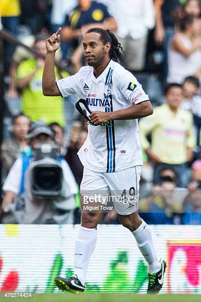 Ronaldinho of Queretaro celebrates after scoring the third goal of his team during a match between America and Queretaro as part of 14th round of...