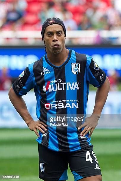 Ronaldinho of Queretaro looks on prior to a match between Chivas and Queretaro as part of 9th round Apertura 2014 Liga MX at Omnilife Stadium on...