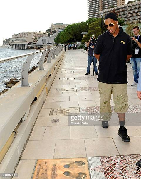 Ronaldinho winner of the 2009 Foot Award takes a walk along the Golden Foot Promenade at Monte Carlo on October 12 2009 in Monaco Monaco