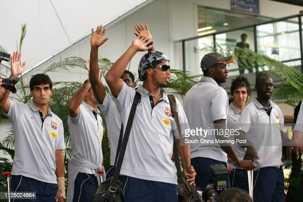 Ronaldinho with other members from FC Barcelona arriving Hong Kong International Airport for the up coming Exhibition Game Mission Hills Cup 08...