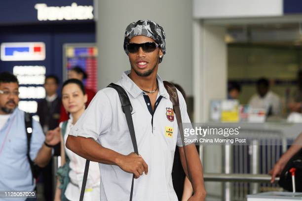Ronaldinho with other members from FC Barcelona arriving Hong Kong International Airport for the upcoming Exhibition Game Mission Hills Cup on Friday...
