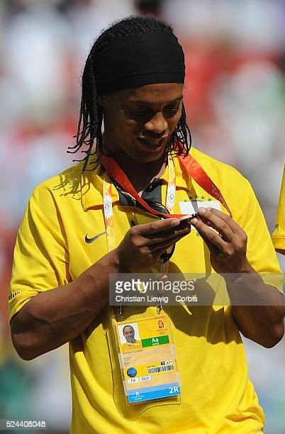 Ronaldino with his bronze medal after during the men's gold match of football event between Nigeria and Argentina at Beijing 2008 Olympic Games in...