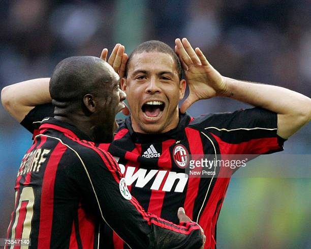 Ronaldo AC Milan's first goal during the Serie A match between Inter Milan and AC Milanat the San Siro Stadium on March 11 2007 in Milan Italy