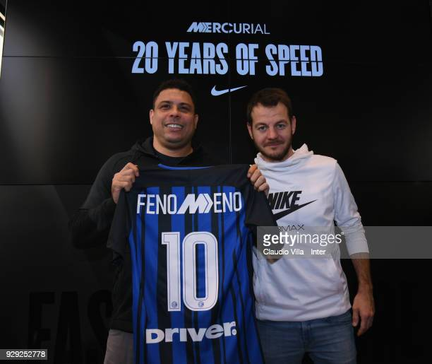 Ronaldo and Alessandro Cattelan pose for a photo during the Nike Mercurial Anniversary on March 8 2018 in Milan Italy