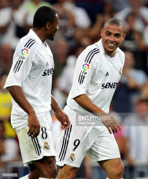 Ronaldo and Julio Baptista celebrate after Ronaldo scored a goal during a Santiago Bernabeu Trophy friendly soccer match between Real Madrid and a US...