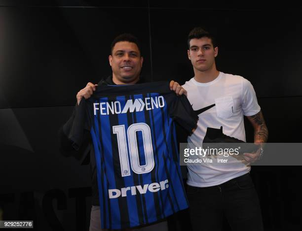 Ronaldo and Pietro Pellegri pose for a photo during the Nike Mercurial Anniversary on March 8 2018 in Milan Italy