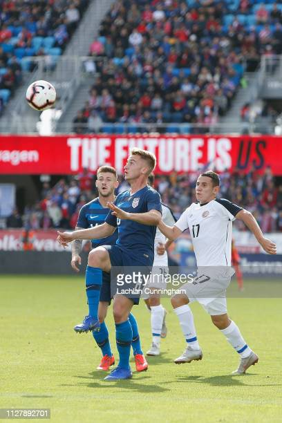Ronaldo Araya of Costa Rica competes for the ball against Djordje Mihailovic of the United States during their international friendly match at Avaya...