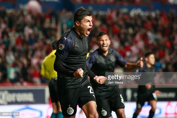 Ronaldo Cisneros of Chivas celebrates after scoring the second goal of his team during the third round match between Necaxa and Chivas as part of...