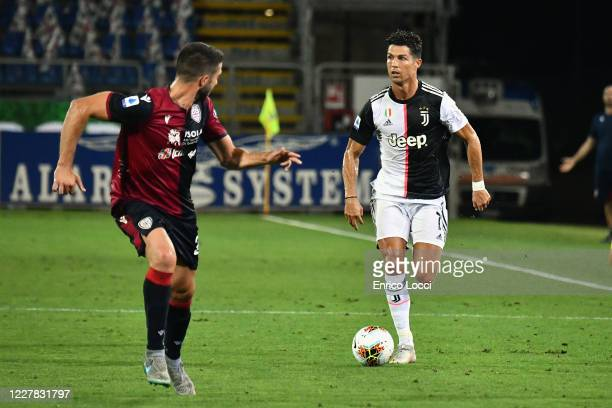 Ronaldo Cristiano of Juventus in action during the Serie A match between Cagliari Calcio and Juventus at Sardegna Arena on July 29, 2020 in Cagliari,...