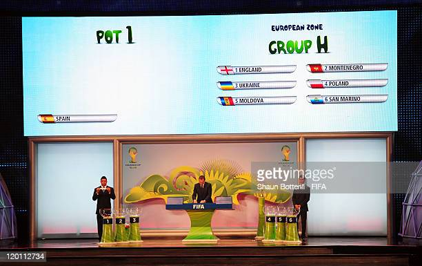 Ronaldo draws England out of the pot during the Preliminary Draw of the 2014 FIFA World Cup at Marina Da Gloria on July 30 2011 in Rio de Janeiro...