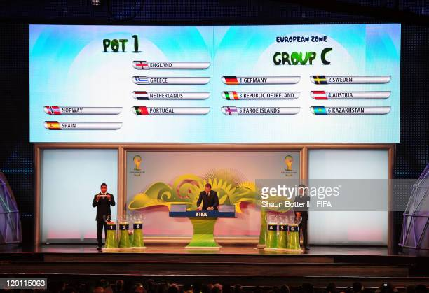 Ronaldo draws Germany out of the pot during the Preliminary Draw of the 2014 FIFA World Cup at Marina Da Gloria on July 30 2011 in Rio de Janeiro...