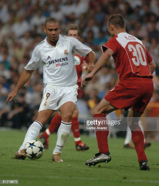 Ronaldo during the UEFA Champions League Qualifying match between Real Madrid and Wisla Krakow at The Bernabeu on August 25 2004 in Madrid Spain