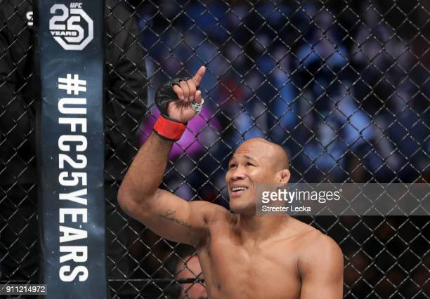 Ronaldo Jacare Souza of Brazil celebrates after defeating Derek Brunson in their middleweight bout during UFC Fight Night at Spectrum Center on...