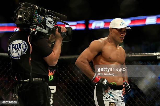 Ronaldo 'Jacare' Souza of Brazil celebrates his win over Chris Camozzi by tap out in their middleweight bout during the UFC Fight Night event at...