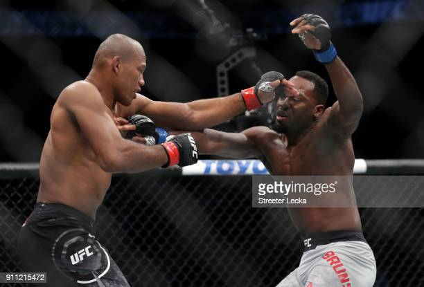 Ronaldo Jacare Souza of Brazil competes against Derek Brunson in their middleweight bout during UFC Fight Night at Spectrum Center on January 27 2018...