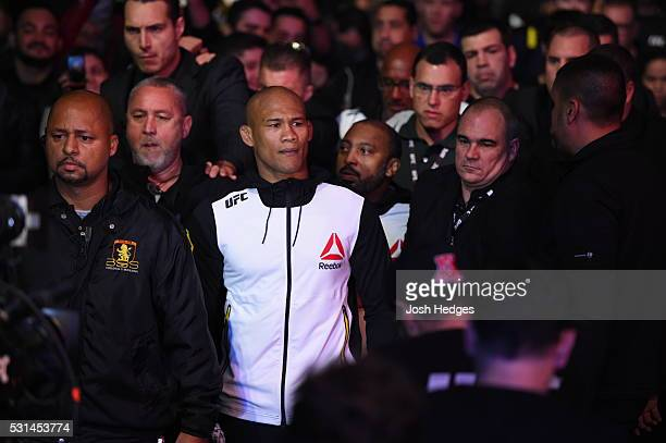 Ronaldo 'Jacare' Souza of Brazil enters the arena before facing Vitor Belfort of Brazil in their middleweight bout during the UFC 198 event at Arena...