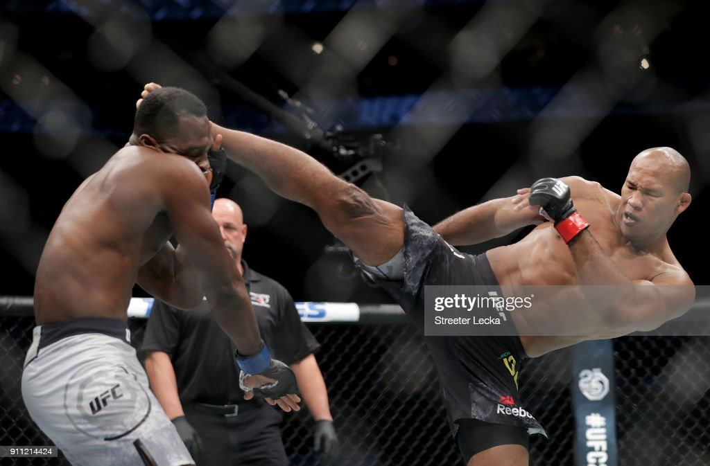 Ronaldo 'Jacare' Souza of Brazil knocks out Derek Brunson during UFC Fight Night at Spectrum Center on January 27, 2018 in Charlotte, North Carolina.