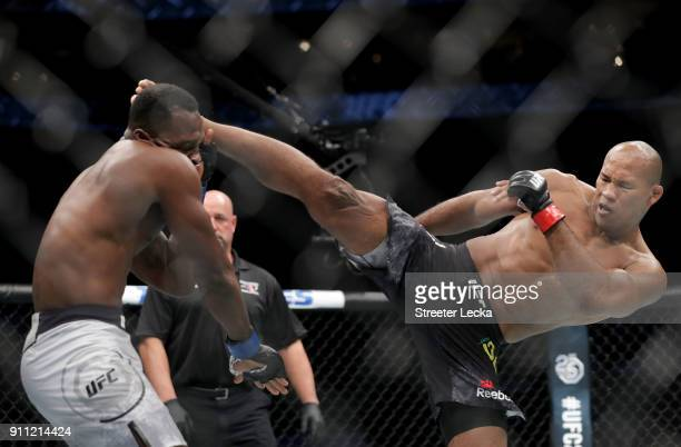 Ronaldo 'Jacare' Souza of Brazil knocks out Derek Brunson during UFC Fight Night at Spectrum Center on January 27 2018 in Charlotte North Carolina