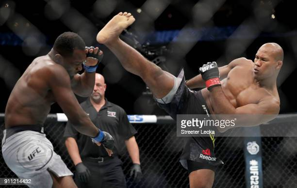 Ronaldo 'Jacare' Souza of Brazil knocks out Derek Brunson during UFC Fight Night at Spectrum Center on January 27 2018 in Charlotte North Carolina