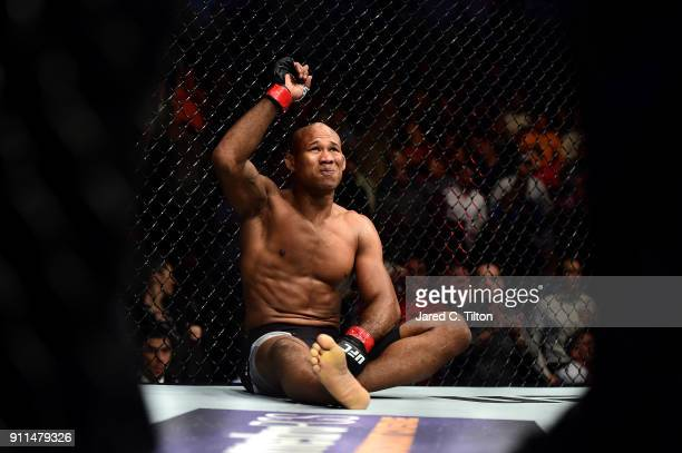 Ronaldo Jacare Souza of Brazil reacts after defeating Derek Brunson in their middleweight bout during the UFC Fight Night event inside the Spectrum...