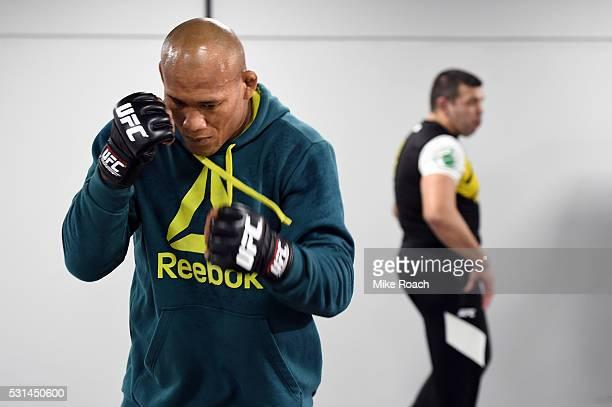 Ronaldo 'Jacare' Souza of Brazil warms up backstage during the UFC 198 event at Arena da Baixada stadium on May 14 2016 in Curitiba Parana Brazil