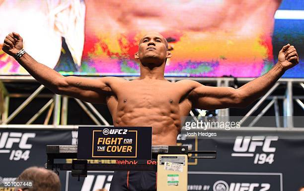 Ronaldo 'Jacare' Souza of Brazil weighs in during the UFC 194 weighin inside MGM Grand Garden Arena on December 10 2015 in Las Vegas Nevada