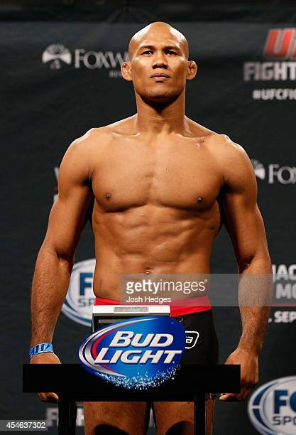 Ronaldo Jacare Souza of Brazil weighs in during the UFC Fight Night weighin at Foxwoods Resort Casino on September 4 2014 in Mashantucket Connecticut